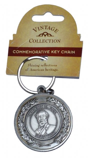 Confederate General Lee Large Circular Pewter Keyring
